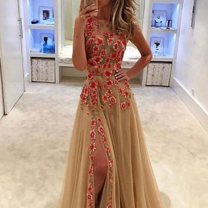 A-line Scoop Front Slit Tulle Prom ..