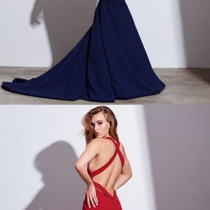 Sexy Mermaid V-neck Backless Prom D..