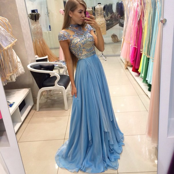 Long A-line Blue Chiffon Beaded Prom Dresses High Neck Cap Sleeves ...