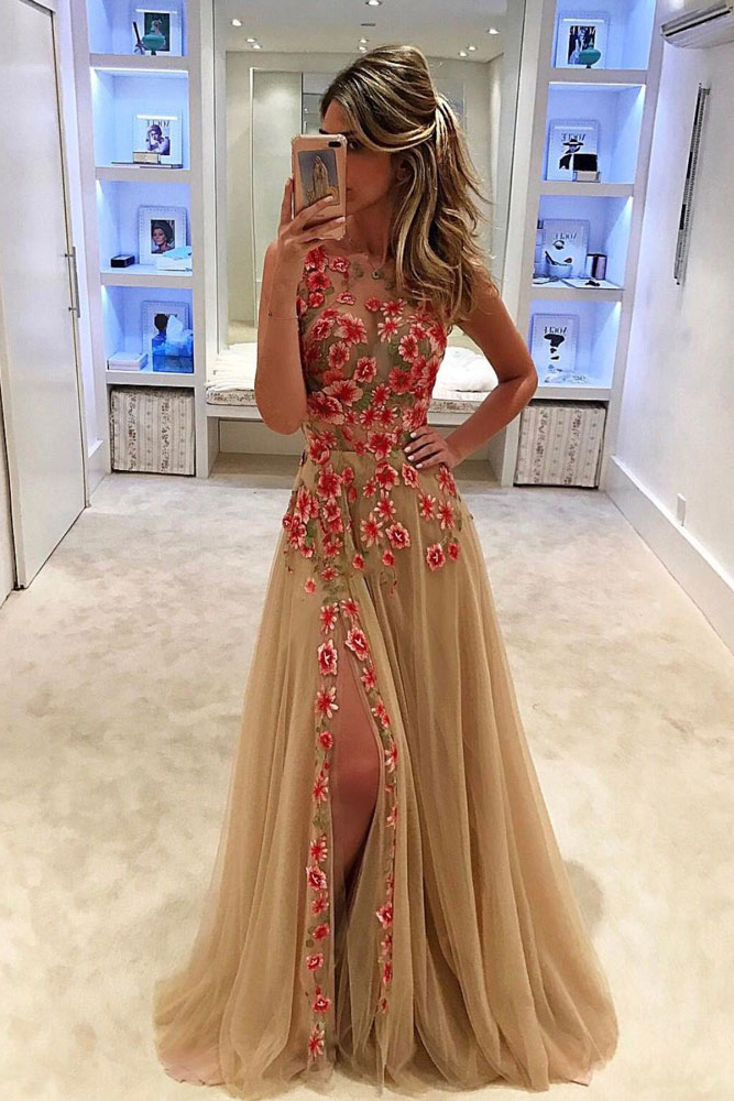 A-line Scoop Front Slit Tulle Prom Dress with flowers Long Evening Party Dress for girls