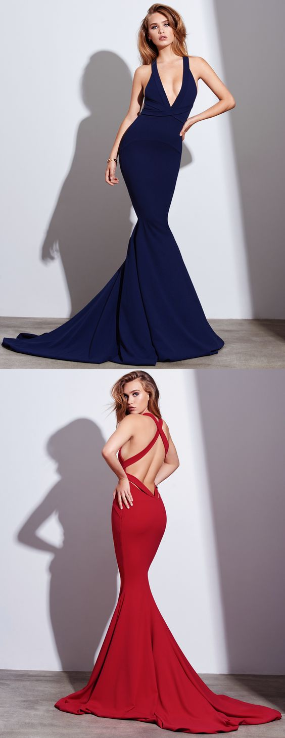 Sexy Mermaid V-neck Backless Prom Dress with Train,Long Burgundy Prom Dress for Senior Prom