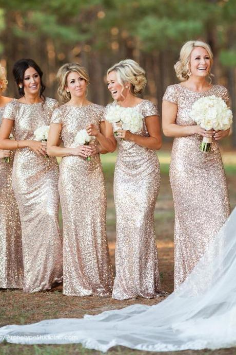 Gold Sequin Bridesmaid Dress,sheath bridesmaid dress, gold long bridesmaid dress,short sleeves bridesmaid dress with shawl,custom made bridesmaid dress