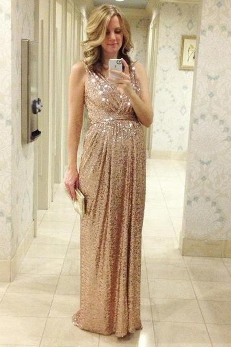 Gold Sequin Bridesmaid Dresses, V-neck Bridesmaid Dress ,Long Bridesmaid Dress,Custom Made Bridesmaid Dress,