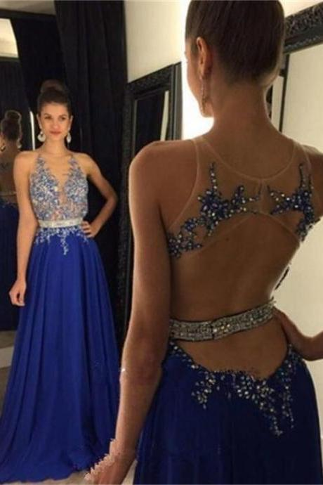 Prom Dress,Prom Dresses,Royal Blue Chiffon Prom Dresses,Chiffon Prom Dresses,Prom Dresses 2016,Beaded Prom Dresses,Backless Prom Dresses,Cheap Prom Dresses,Long A-line Prom Dresses,Backless Party Dresses,Prom Dresses Long,Sexy Prom Dresses,Prom Dresses for Women,Sexy Party Dresses