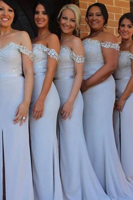 Appliques Off the Shoulder Long Mermaid Bridesmaid Dresses Front Slit Wedding Women Party Dress 2016