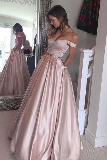 A-line Off Shoulder Beaded Belt Elastic Satin Prom Dress,Long Prom Evening Party Dress
