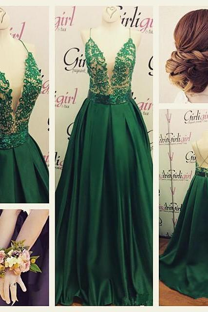 A-line Spaghetti Straps Lace Bodice Beads Green Prom Dress,Long Evening Party Gowns