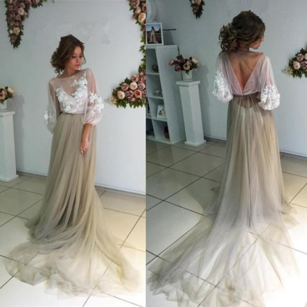 A-line Scoop 34 Length Sleeves Tulle Prom Dress with Train, 2017 Long Prom Dress