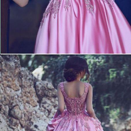 Luxury Square Appliques Beaded Prom Gowns with Train Pink Quinceanera Dress for Girls -2